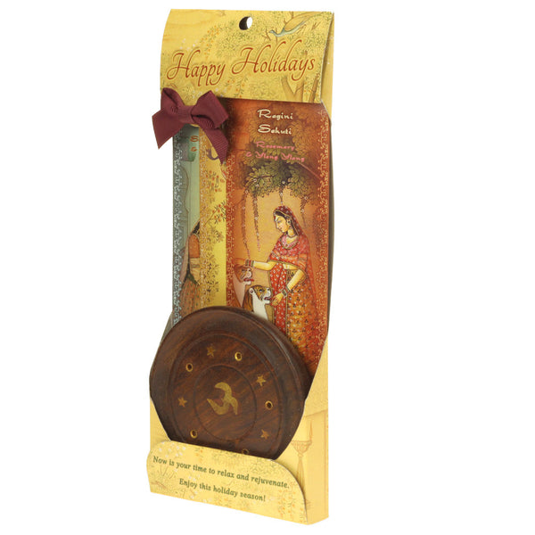 Incense Gift Set - Wood Round Burner + 3 Harmony Incense Sticks & Holiday Greeting (Madhumadhavi, Sehuti, Padmanjari)