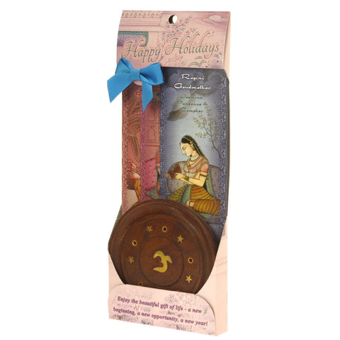 Incense Gift Set - Wood Round Burner + 3 Harmony Incense Sticks & Holiday Greeting (Gaudi, Gaudmalhar, Bhairavi)