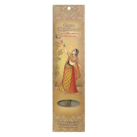 Sample Incense 2 Sticks - Ragini Madhumadhavi - Tulasi, Sandalwood, and Citronella - Bliss