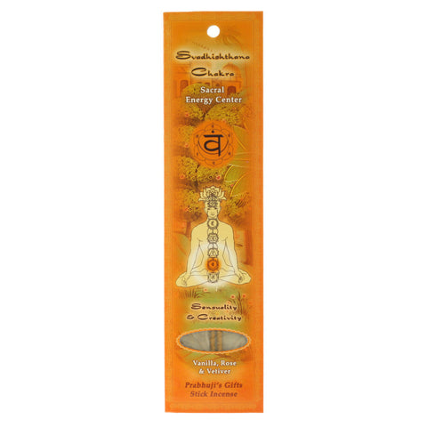 Sample Incense 2 Sticks - Sacral Chakra Svadhishtana - Sensuality and Creativity