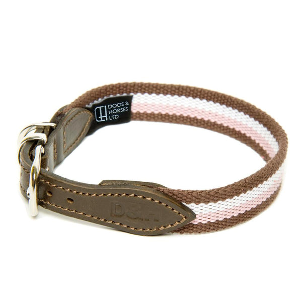 D&H WIDE STRIPED COTTON WEBBING COLLAR