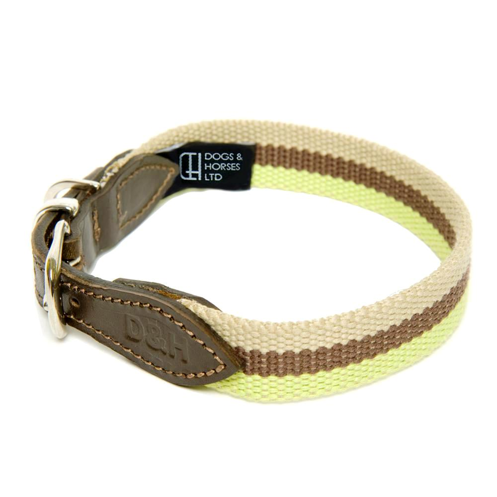 D&H WIDE STRIPED CANVAS AND LEATHER COLLAR