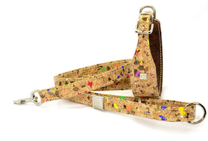D&H LIMITED EDITION Dog Collar and Lead in real CORK and Leather. MADE-TO-ORDER...