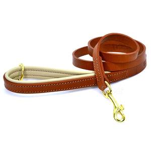 (Dogs&Horses) D&H London. Handmade Luxury Tan flat leather dog lead with padded handle in soft Cream leather. 122 cm long (including handle) x 15mm wide