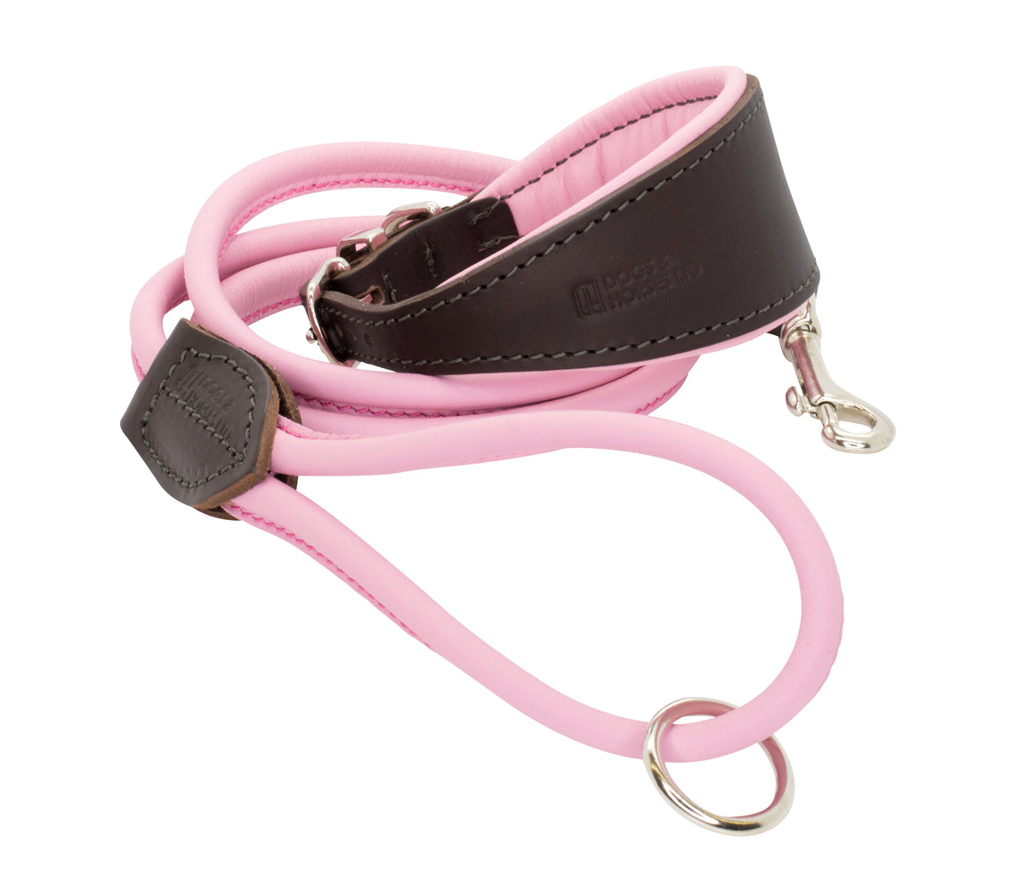 D&H Padded Leather Hound Collar with Rolled Lead, Pink, Brown and Silver
