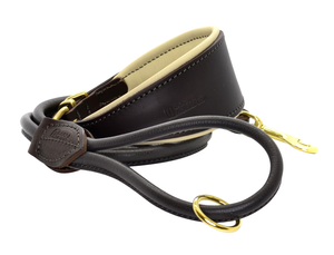 Dogs & Horses Padded Leather Hound Collar and Rolled Leather Lead Set