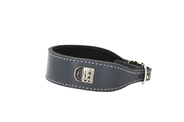 Leeds Castle Leather Dog Collar and Lead - Texture Grey