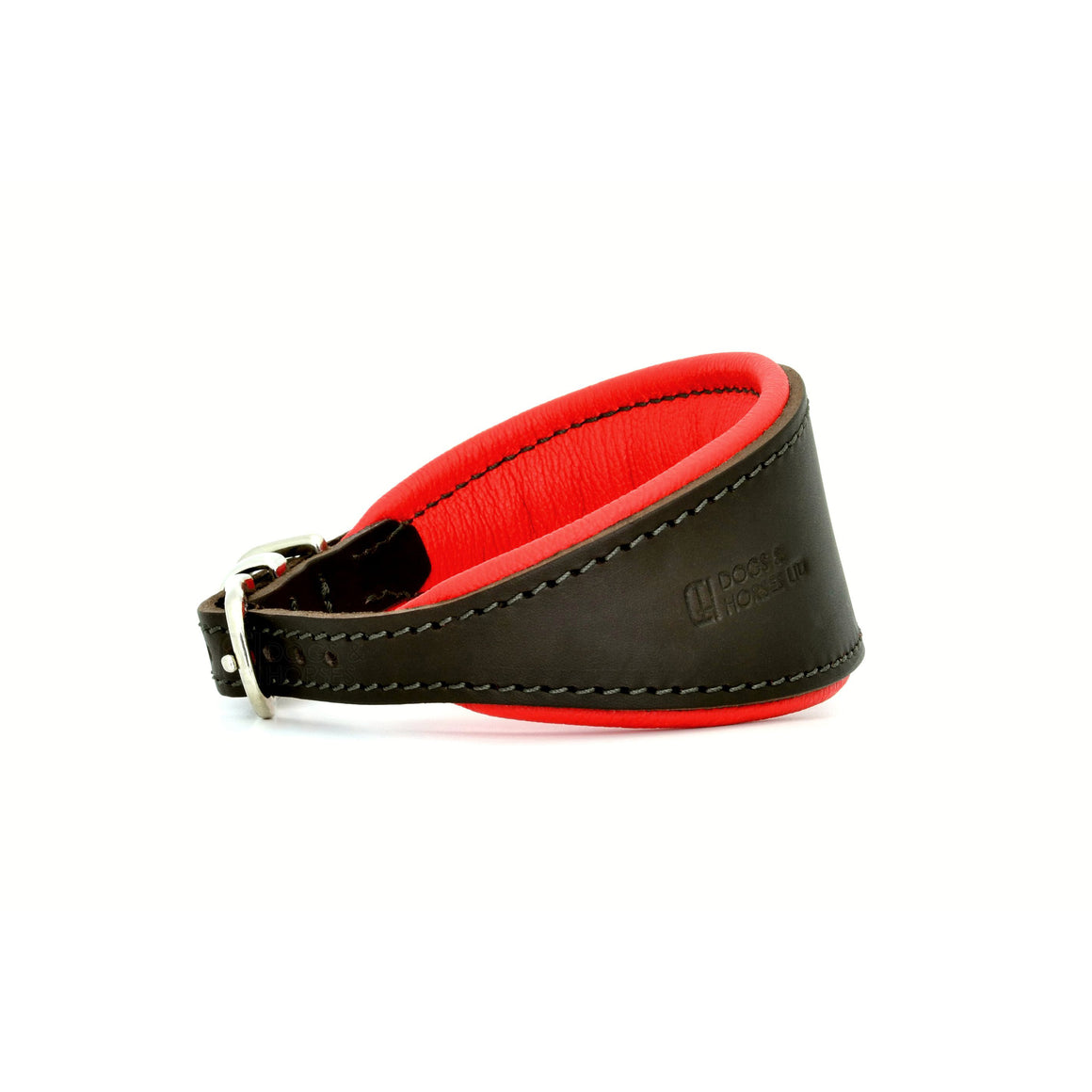 Padded Hound leather dog collar brown, red and silver. Handmade by (Dogs&Horses) D&H London. Luxury leather goods. Suitable for Whippets, Greyhounds, Lurchers