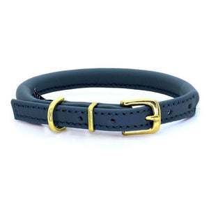 D&H ( Dogs & Horses Ltd) rolled leather dog collar, handmade in England from soft navy blue Italian leather