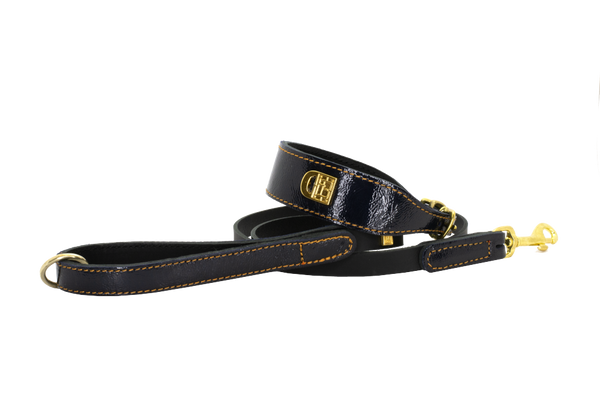 Leeds Castle Leather Dog Collar and Lead - Patent Navy