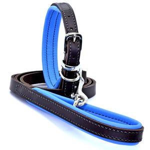 D&H Padded Leather Collar and Lead Blue