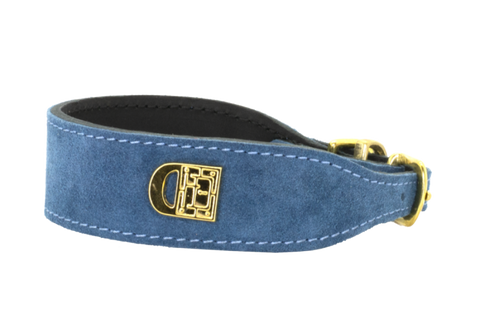 Leeds Castle Leather Dog Collar and Lead - Emerald Suede