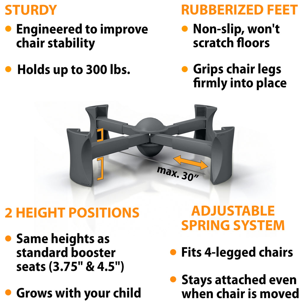Charcoal - KABOOST Booster Seat - Goes Under the Chair