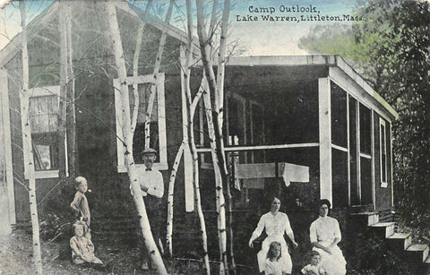 Refried Jeans Postcards   Littleton Massachusetts~Lake Warren~Victorian Family at Camp Outlook~Cabin~1908  front