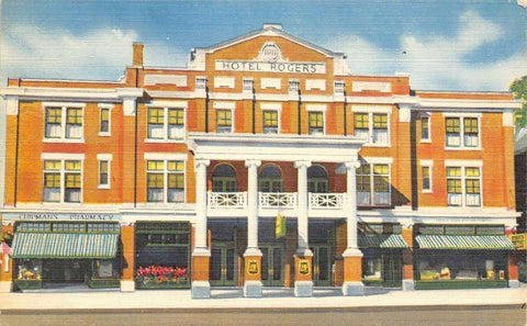 Refried Jeans Postcards   Lebanon NH~Hotel Rogers~Chipman's Pharmacy~Granite State Co~1940s Linen Postcard  front