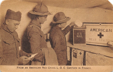 WWI Patriotic~American Red Cross Rest Station~LOC Canteen in France~Soldier Mail | Refried Jeans Postcards