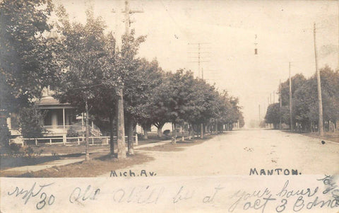 Manton Mi~Home w/Turret, Long Steps~214? S Michigan Ave~Columns Beyond~RPPC1906 | Refried Jeans Postcards