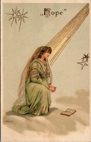 Mailick~Lovely Lady Charity in Lime Gown~Bible in Clouds Stars~Gold Leaf Emboss