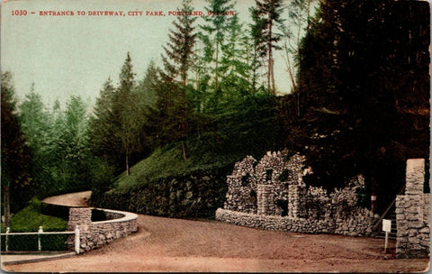 Portland Oregon~City Park~Rock Grotto at Entrance~c1910 Postcard | Refried Jeans Postcards