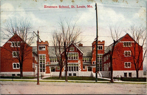 St Louis Missouri~Emerson School~Wrought Iron Gated Entries~c1910 Postcard | Refried Jeans Postcards