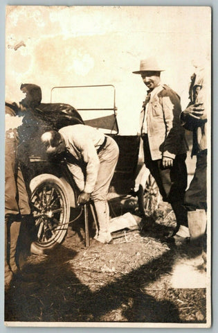 Real Photo Postcard~Men Pumping Up Tire on Vintage Auto~One Works~3 Watch~c1908 | Refried Jeans Postcards