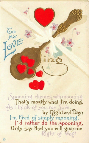 Valentine~Red Hearts in Gold Spoon~Spooning Rhymes With Mooning~Emboss~221 E | Refried Jeans Postcards