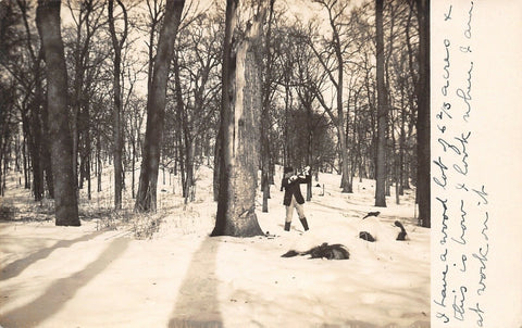 Real Photo Postcard~Dandy Man With Ax~Huge Tree~How I Look at Work~6 Acres~1908 | Refried Jeans Postcards