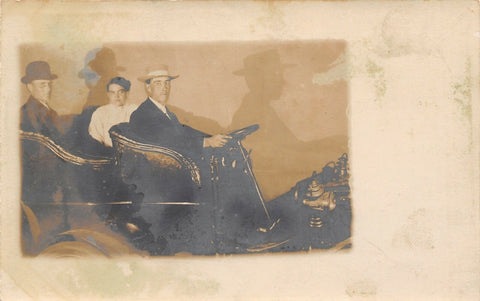 Real Photo Postcard~Trio in Vintage Automobile Cast Shadows~1905 RPPC | Refried Jeans Postcards