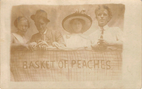 Middletown NY Fair~Studio Shot~Basket of Peaches~2 Couples~Paul Gustin~1912 RPPC | Refried Jeans Postcards