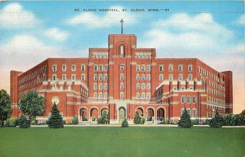 St. Cloud Minnesota~Arch Door & Windows~St. Cloud Hospital~1942 Postcard | Refried Jeans Postcards
