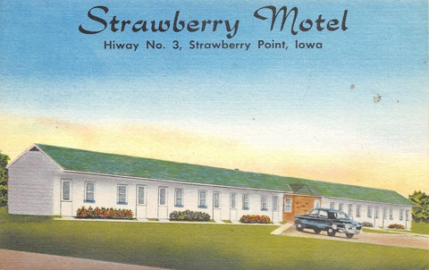 Strawberry Point IA~Motel on Rt 3~New & Completely Modern~Basement Garage~Linen | Refried Jeans Postcards