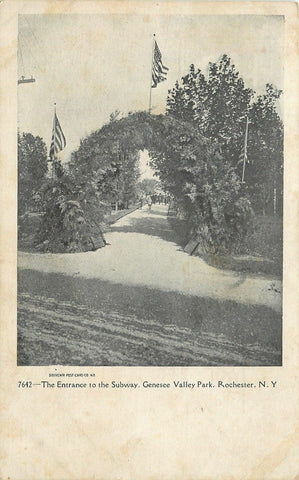 Rochester New York~Ivy-Covered Arch @ Genesee Valley Park Entrance~c1905 | Refried Jeans Postcards