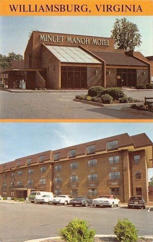 Williamsburg Virginia~Minuet Manor Motel on Richmond Rd~Nice 1970s Cars PC | Refried Jeans Postcards
