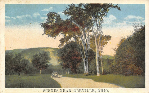 Orrville Ohio~Vintage Car Driving Country Road~Birch Trees~1921 Postcard | Refried Jeans Postcards
