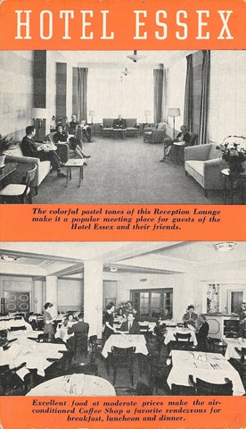 Philadelphia PA~Hotel Essex Reception Lounge~Coffee Shop~Guests~1950s B&W Adv PC | Refried Jeans Postcards