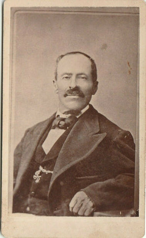 Waterloo IA SV Mosher~Civil War Vet~Phtgrphr CDV 1880s~Happy, Full-Mustached Man | Refried Jeans Postcards