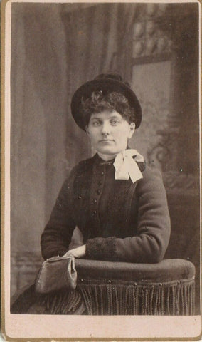 Waterloo IA Simmons, Letteer & King CDV 1880s~Gal w/Pretty Eyes~Bow by Neck | Refried Jeans Postcards