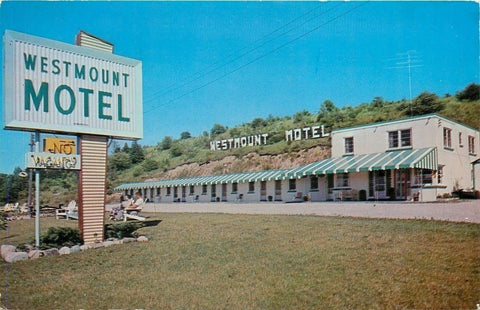 Woodstock Ontario~Westmount Motel~Folks in Lawn Chairs~Hillside Letter Sign~1960 | Refried Jeans Postcards