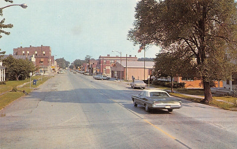 Wellsville Missouri~Main Hudson Street~IGA Grocery Store~Sinclair~1960s Cars~PC | Refried Jeans Postcards