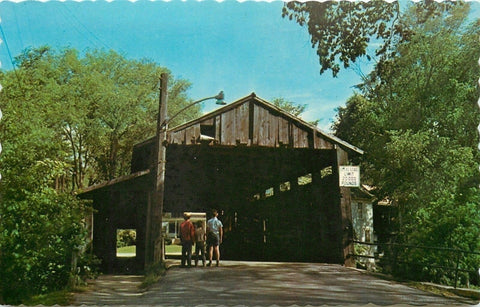 Waitsfield Vermont~Boys Looking at Old Covered Bridge 1950s Postcard | Refried Jeans Postcards