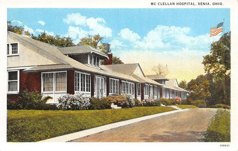 Xenia Ohio~McClellan Hospital~Home-Like Atmosphere @ End of Drive~1920s Postcard | Refried Jeans Postcards