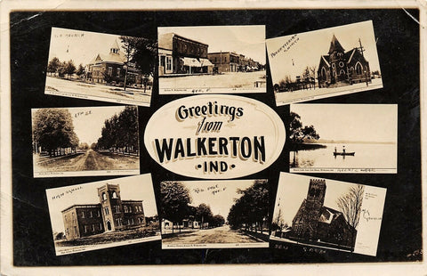 Walkerton IN Shops, Homes~Brethren & Methodist~Koontz Lake~High School~RPPC | Refried Jeans Postcards