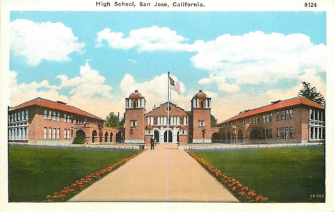 San Jose California~Long Path to High School~Man Standing by Flag~Cloudy~1920s | Refried Jeans Postcards