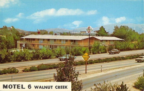 Walnut Creek California~Motel 6~1950-60 Cars on Freeway~1966 Postcard | Refried Jeans Postcards