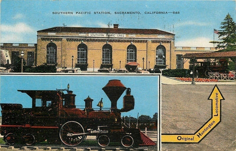 Sacramento CA~Southern Pacific Railroad Station~Huntington Locomotive~1944 | Refried Jeans Postcards