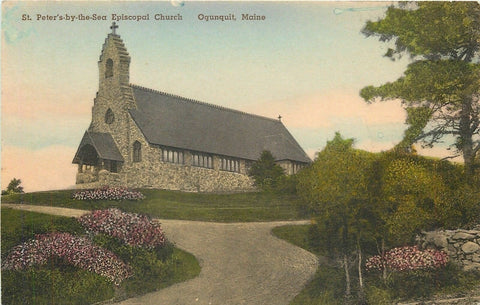 Ogunquit Maine~Handcolored: St Peter's by the Sea Episcopal Church c1910 | Refried Jeans Postcards
