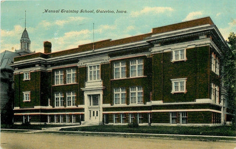 "Waterloo Iowa Paper Co Ad~Manual Training School~""Expect a Call Postcard""  1911 