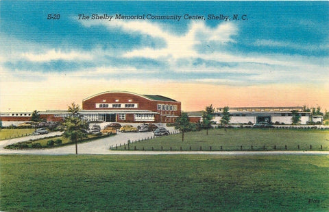 Shelby North Carolina~Shelby WWI & WWII Memorial Community Center~1950s Linen PC | Refried Jeans Postcards