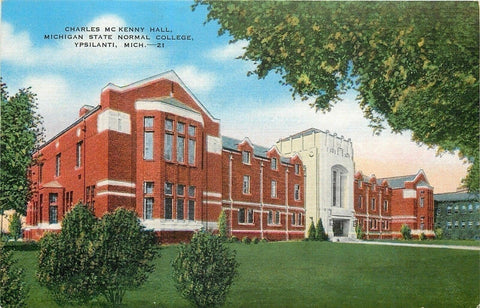 Ypsilanti Michigan~Charles McKenny Hall Michigan State Normal College 1940 Linen | Refried Jeans Postcards
