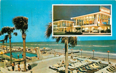 Miami Florida~New Waikiki Hotel~Night Lights~Day~1988 Postcard | Refried Jeans Postcards